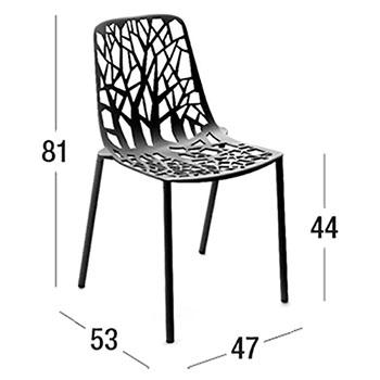 Diagrama de dimensiones de la silla Forest