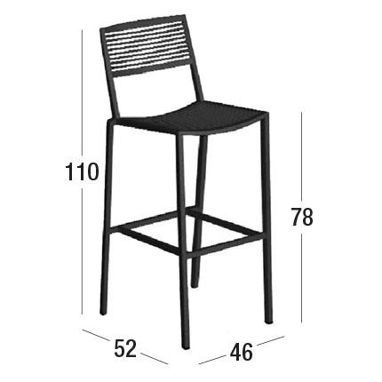 Diagrama de dimensiones del taburete Easy